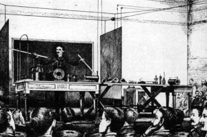 Tesla's 1891 Wireless transmission of power and energy demonstration