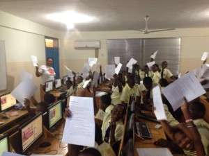 Ghana Code Club showing printed hand outs